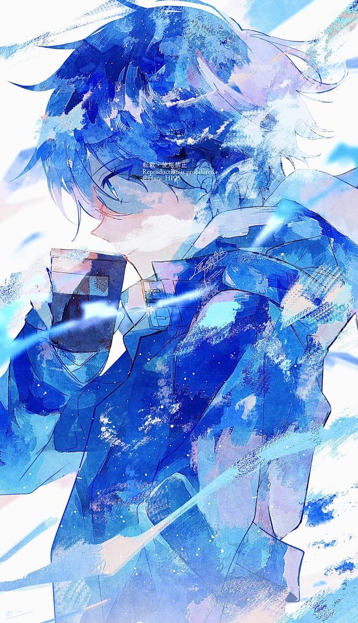 一息 Illust of 遥川遊 illustration sideface blue 創作男子 boy art watercolor オリジナル創作 oc original