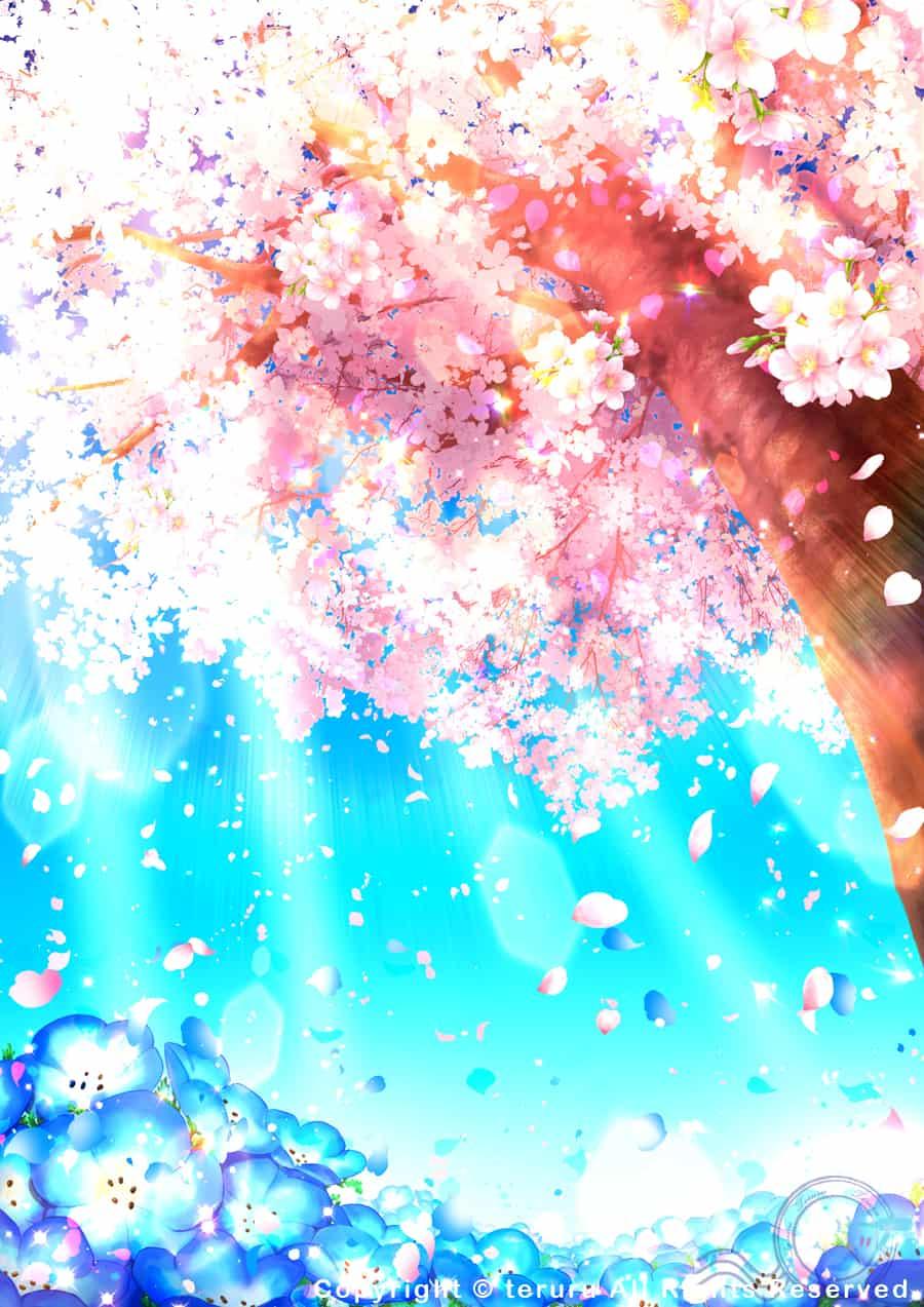 Pink Dream Illust of teruru 木漏れ日 달력 sakura 4월 待ち受け画面 오리지널 pink 네모필라 배경 flower