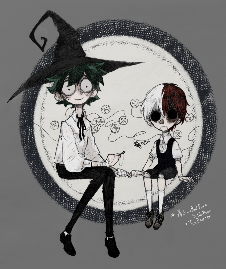 The Witch and the Pinocchio -TDIZ- Illust of Leporidactic Shoto_Todoroki fairytale Izuku_Midoriya MyHeroAcademia 轟出