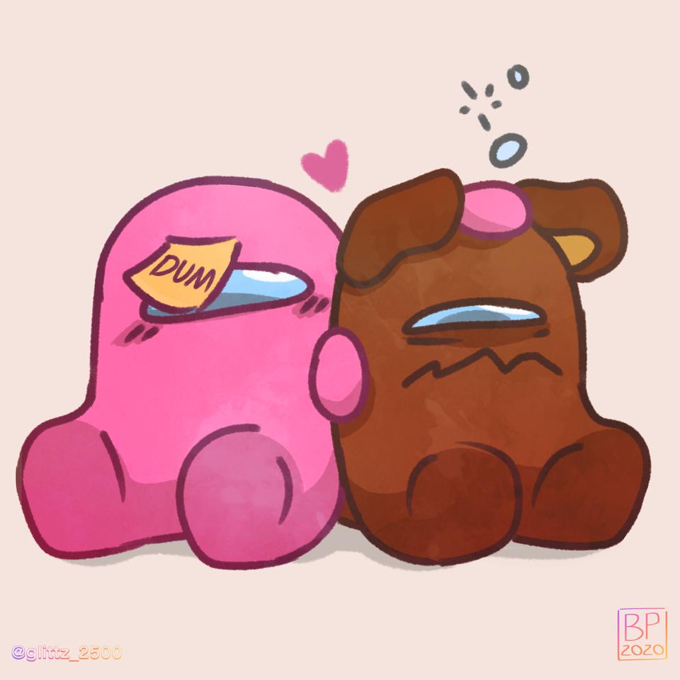 Bear and Pink Illust of SilverCloud25 medibangpaint digital fanart ImpostorAU MyArt ImpostorMamaBearAU AmongUs