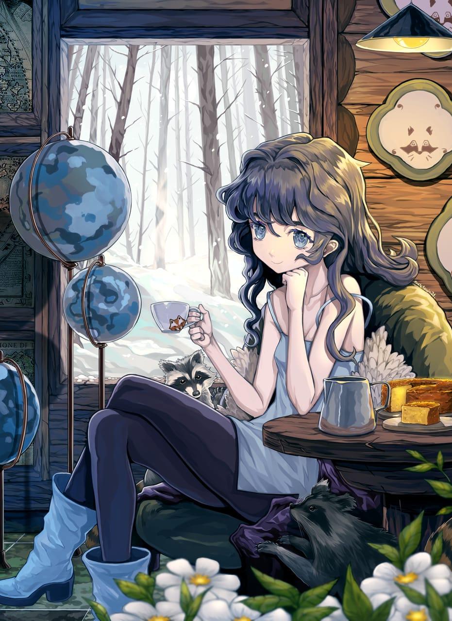 平和な冬 Illust of EUDETENIS April2021_Flower コーヒー girl な冬 cake 平和 平和な冬 EUDETENIS