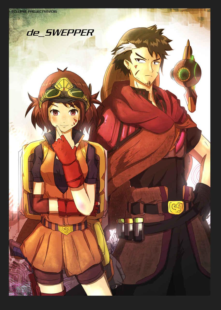 The Duo Swepper Illust of NovianT fantasy couple treasure pair medibangpaint swepper hunter