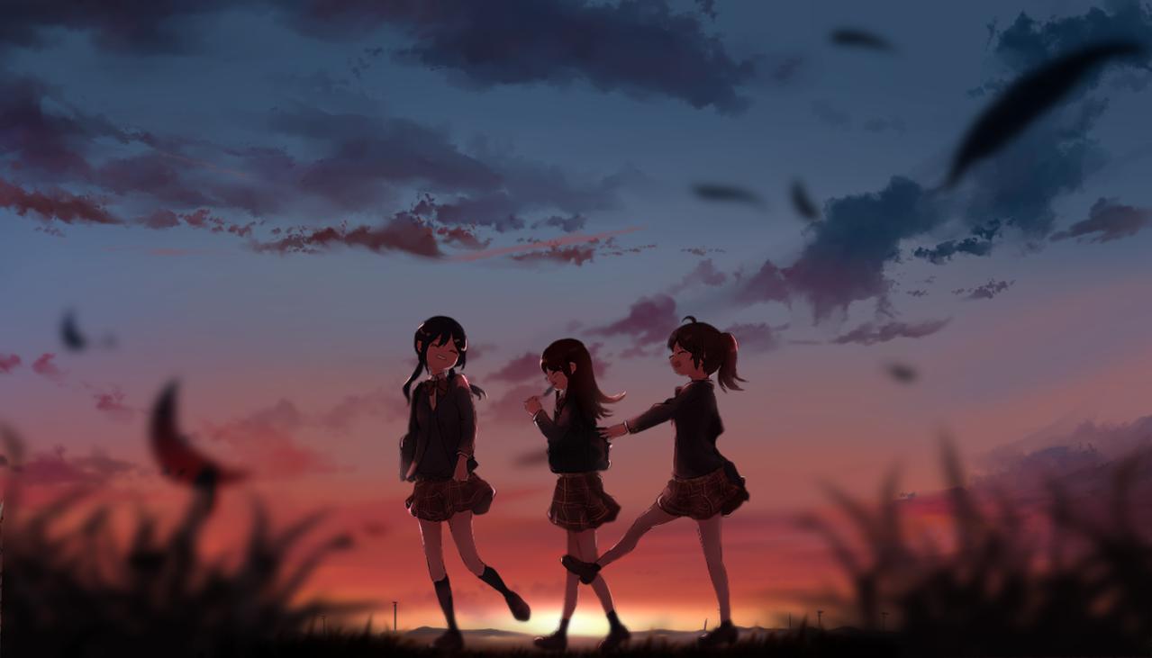 【帰り道を探して。】 Illust of ちびろぅё!!あっとまきゅん Sep.2019Contest sunset 女子高生 帰り道 background schooluniform