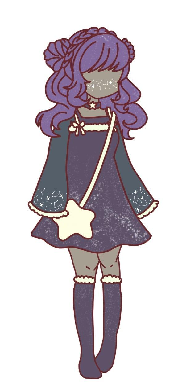 Adopt request from Squidkid64 Illust of Dreamy_Bees cutegirl galaxy Adopts purplehair