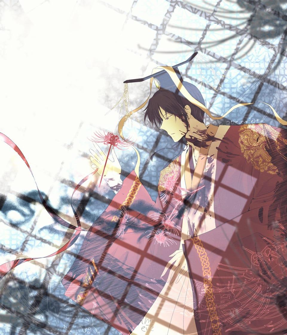 Red string of Death Illust of The-eve April2021_Flower illustration oc