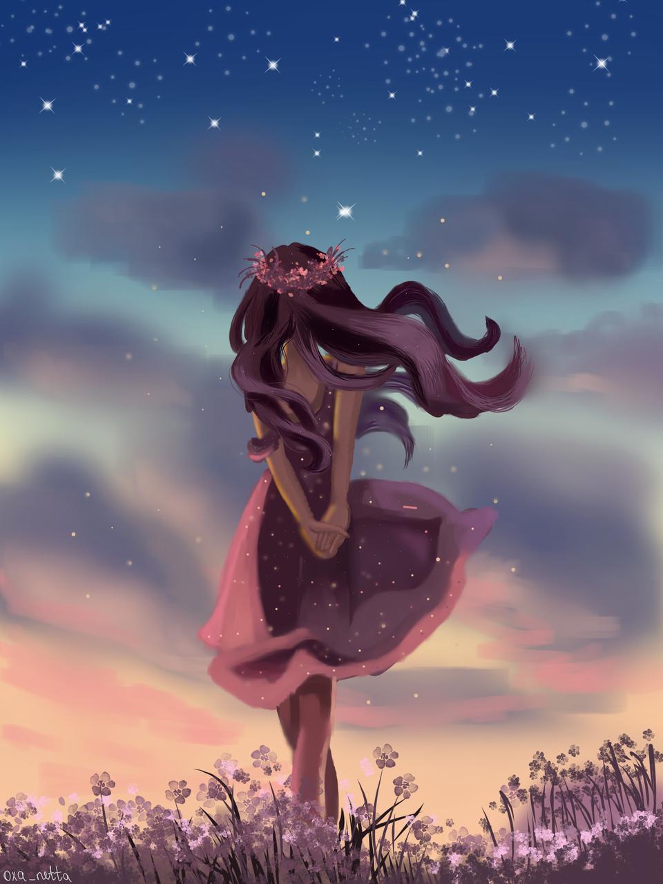 Sunset Illust of oxanacniazeva anime girl paint medibangpaint drawing sunset beautiful