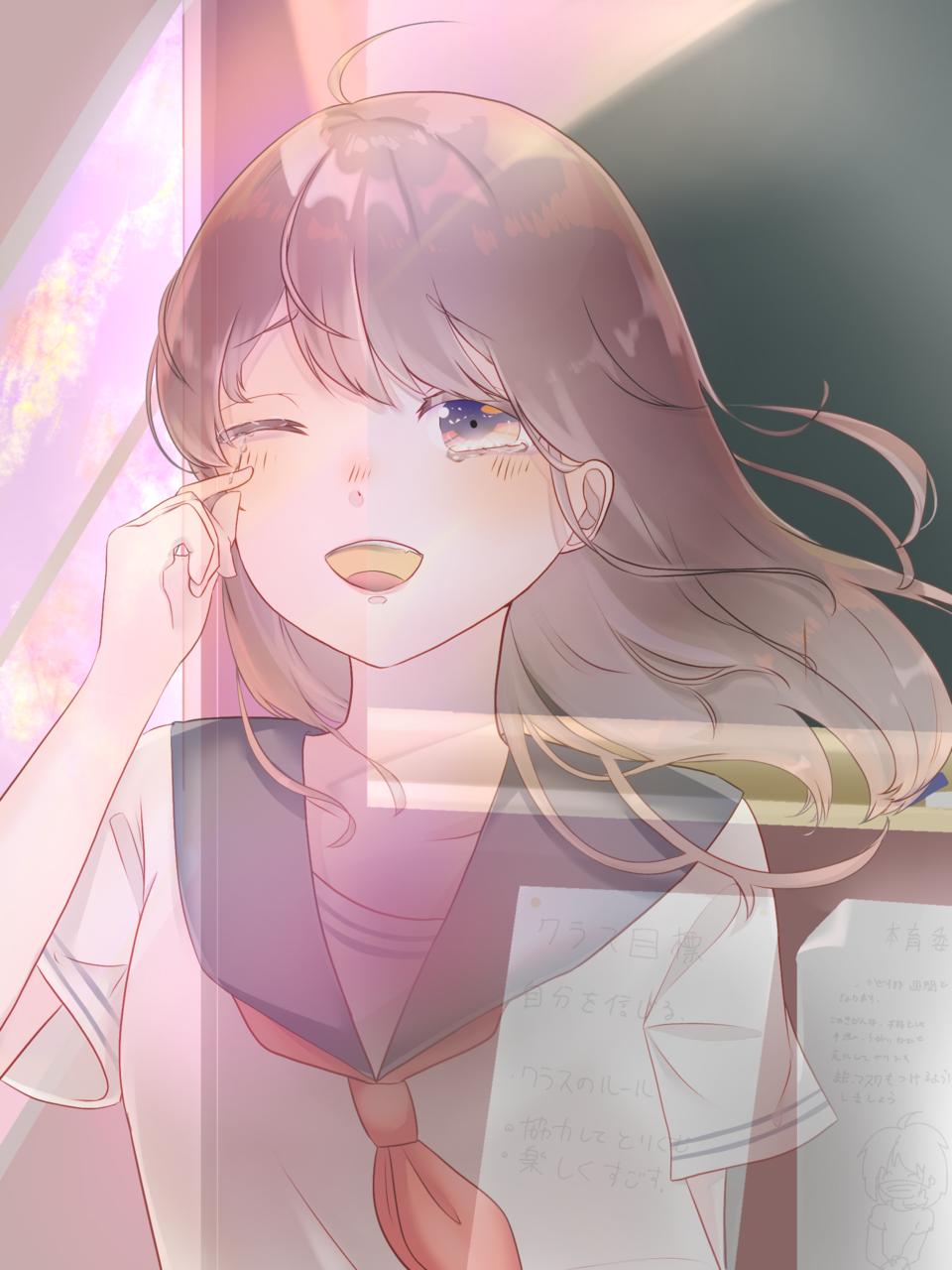 感動的な別れ Illust of えりね Original_Illustration_Contest 幽霊 高校生 tears 別れ 学校 girl sailor_uniform sunset woman