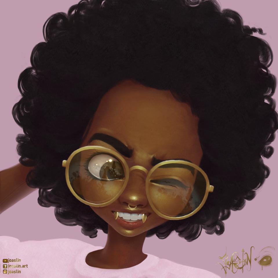 ✨Gold Fangs✨ Illust of JoAsLiN art gold girl oc cute anime illustration portrait digital original