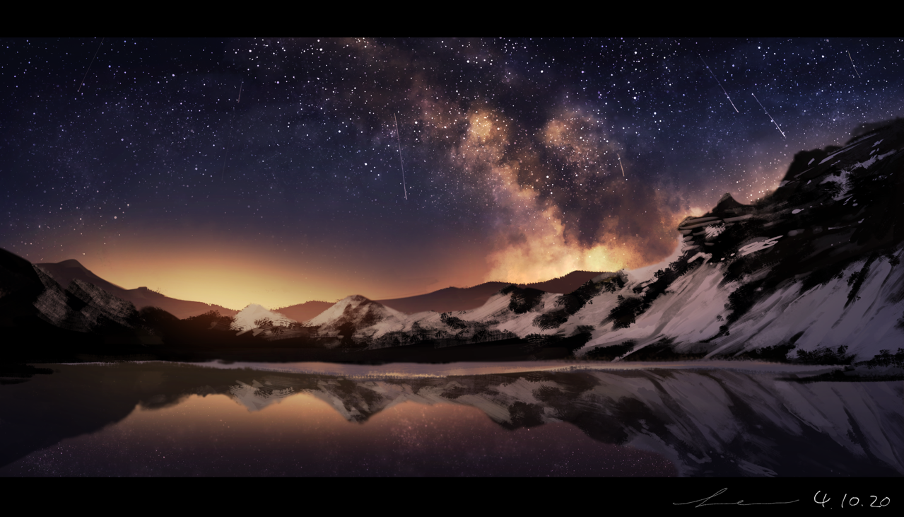 Night Sky Illust of 星灯れぬ 夜空 impasto 模写 starry_sky scenery