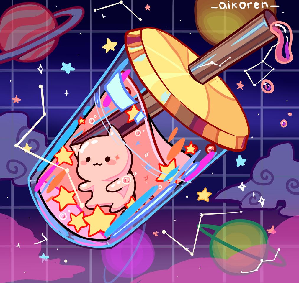 The sweetest cat tea of the galaxy! Illust of aikoren anime cat BobaTea galaxy cute art aesthetic kawaii