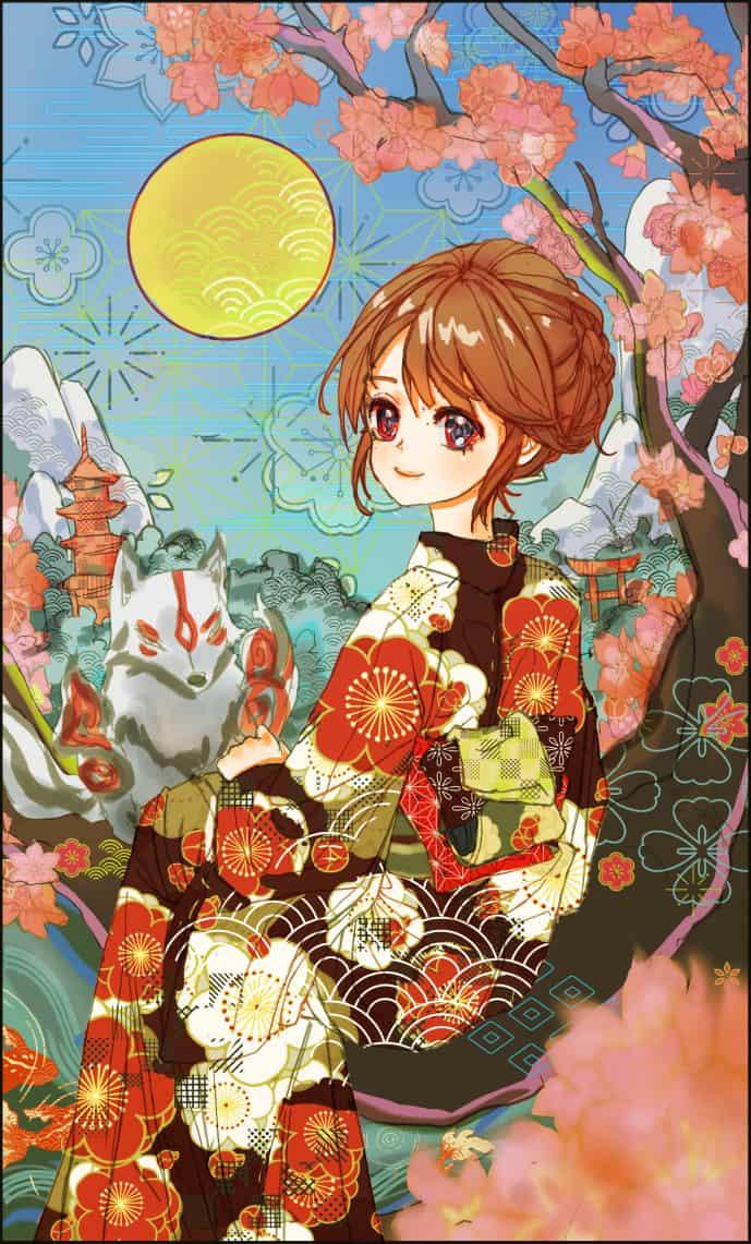 Kimono Illust of sealgege Kyoto_Award2020_illustration