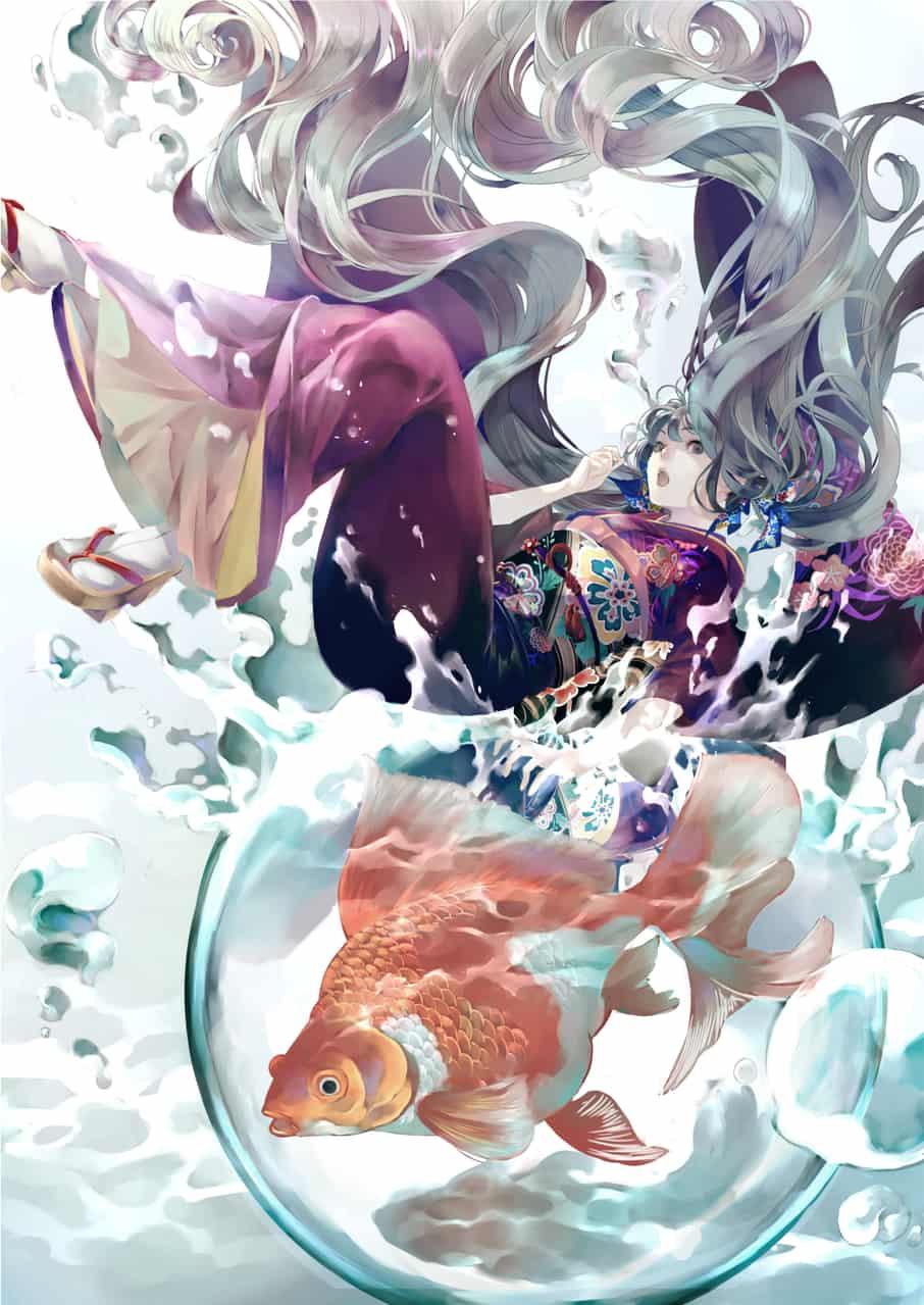 Kimono Illust of Lita Orenji Kyoto_Award2020_illustration girl Kyoto painting longhair water medibangpaint kimono hair Artwork goldfish