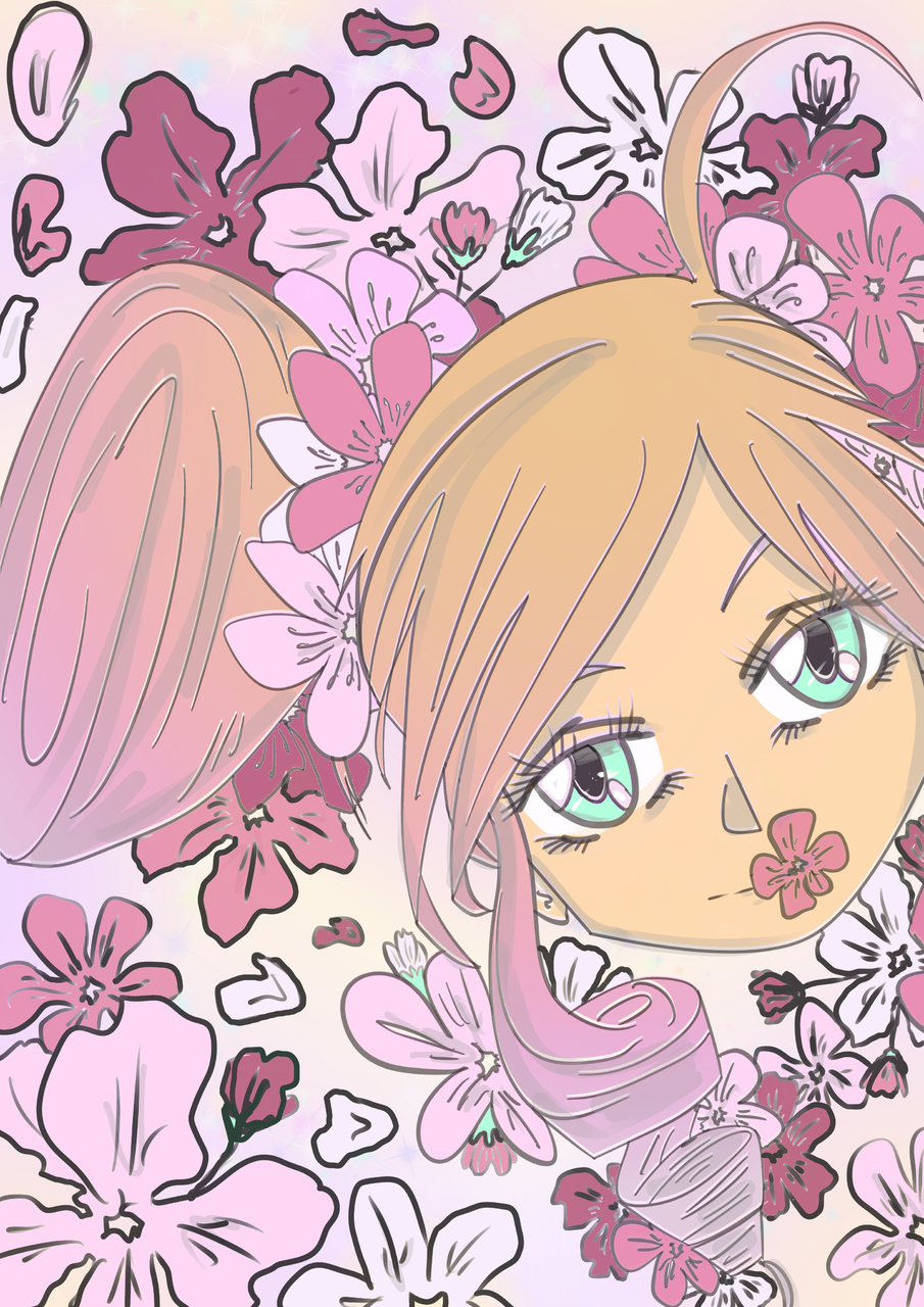Hanami Illust of Mbm85 April2021_Flower medibangpaint sakura hanami cherryblossom pink hiding spring