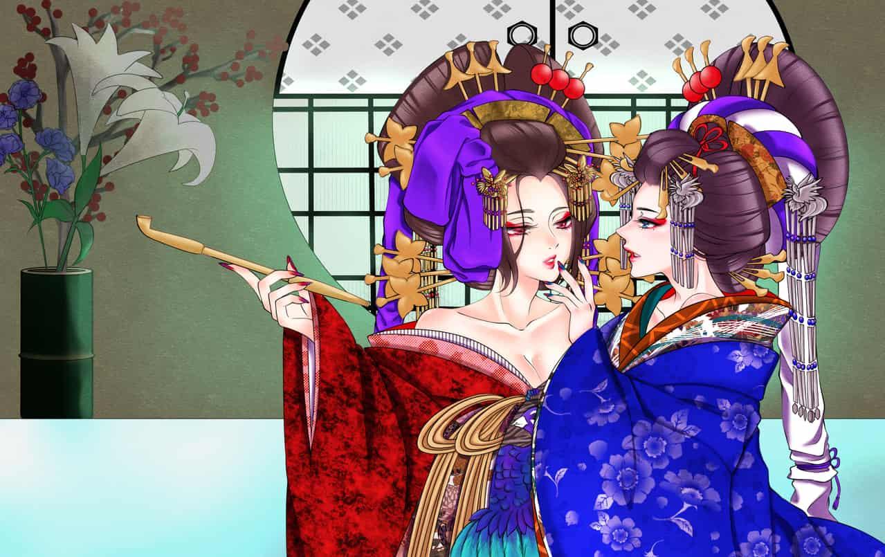 お化粧し合う花魁 Illust of 咲智夜 kyoto-illust2019 花魁 Japanese_style contest illustration