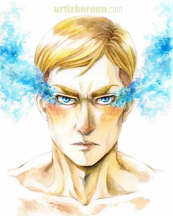 Gelid Flare Illust of ウラン illustration fanart AttackonTitan art watercolor anime