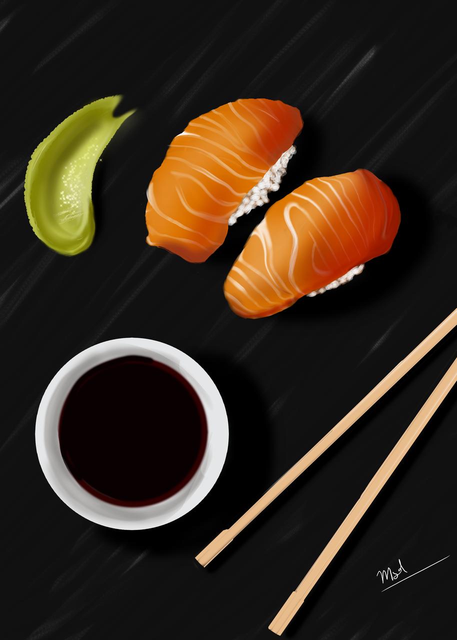 Sake sushi with soy and wasabi Illust of M.s.d. medibangpaint Japan japanesefood food illustration iPad_raffle sushi