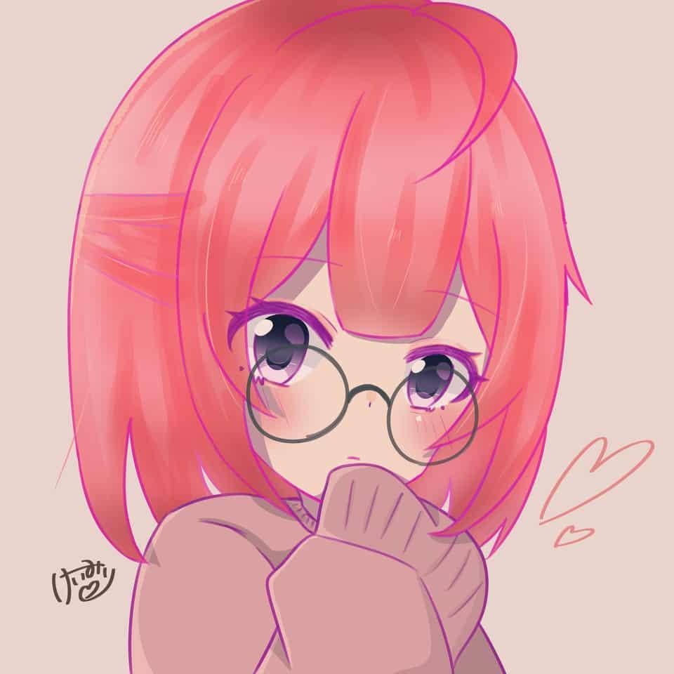 ピンク Illust of けいみり pink girl medibangpaint glasses