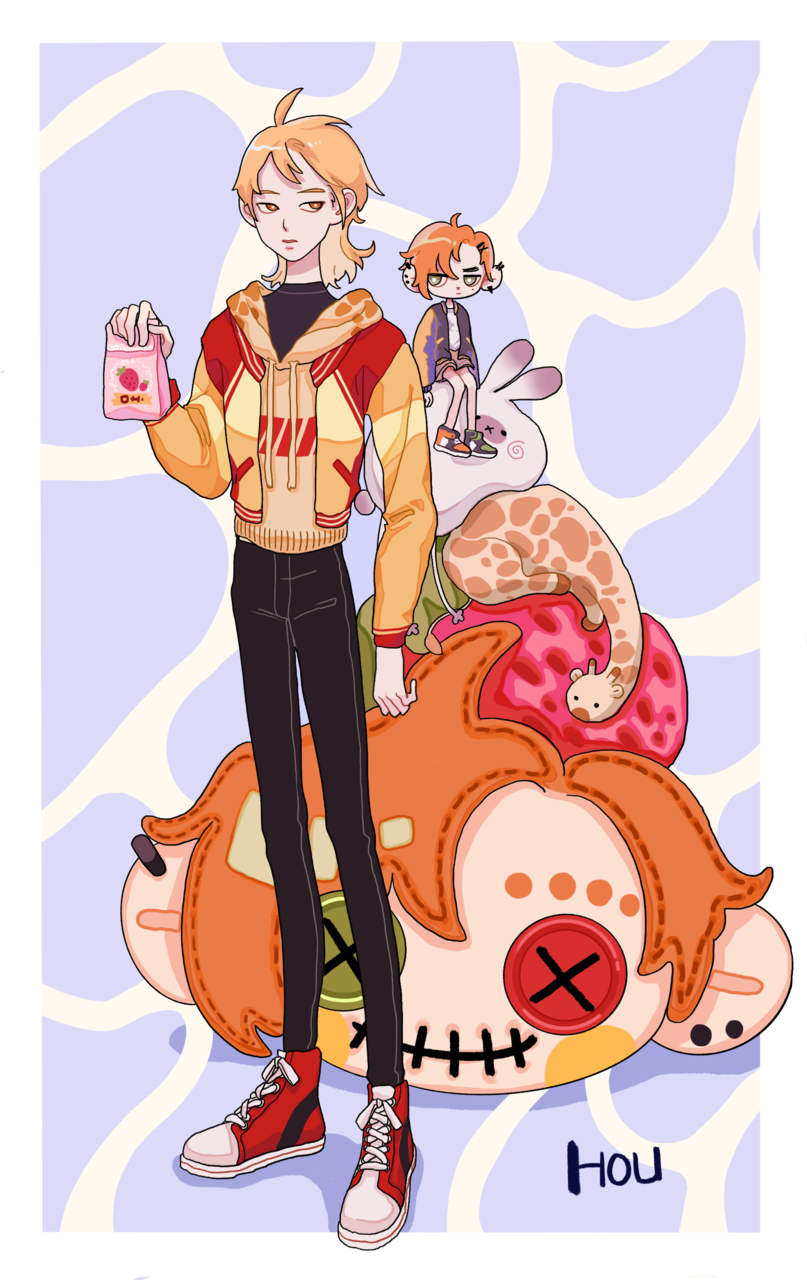 Illust of 一口酉 blonde illustration 双人 Giraffe boy cute 草莓 oc