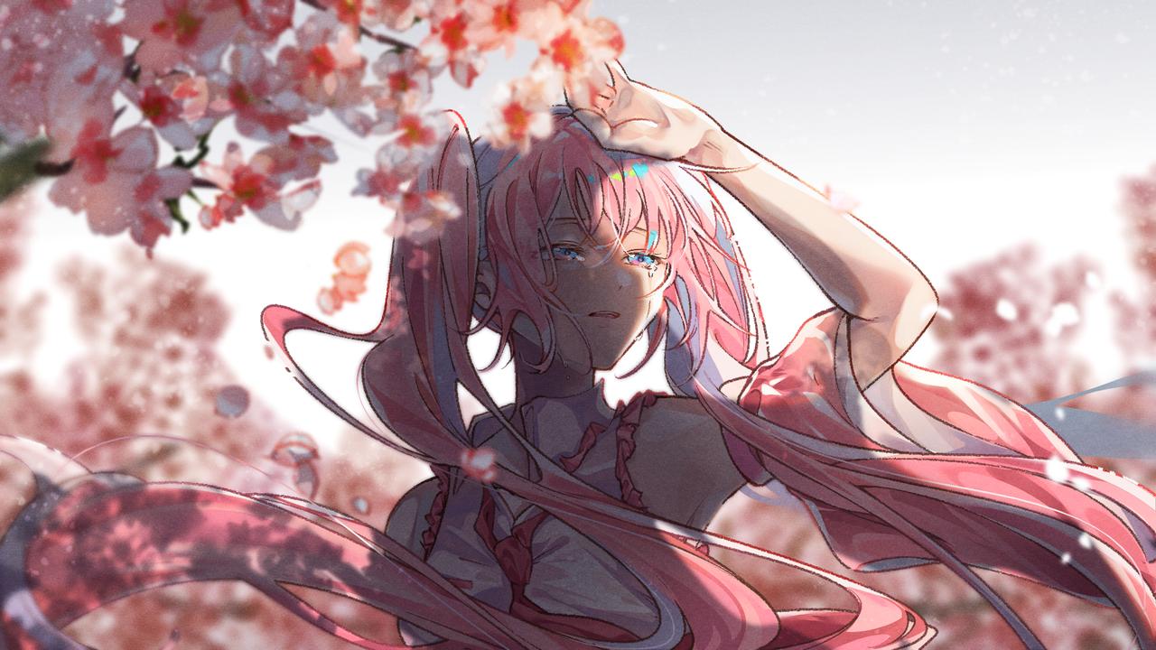 桜ミク Illust of かみな medibangpaint VOCALOID sakura 桜ミク hatsunemiku tears