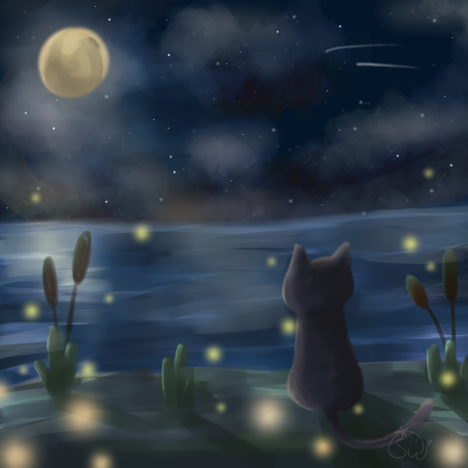(=´ᆺ`=)🌕🌠 Illust of 草莓 Strawy medibangpaint cute cat MyArt moon night