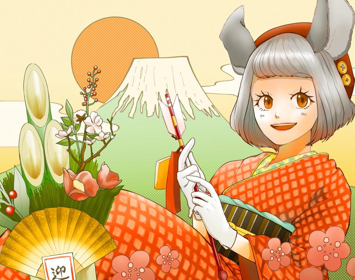 めでたい! Illust of てばさき Jan.2020Contest ネズミ kimono ネズミ擬人化 女の子イラスト girl