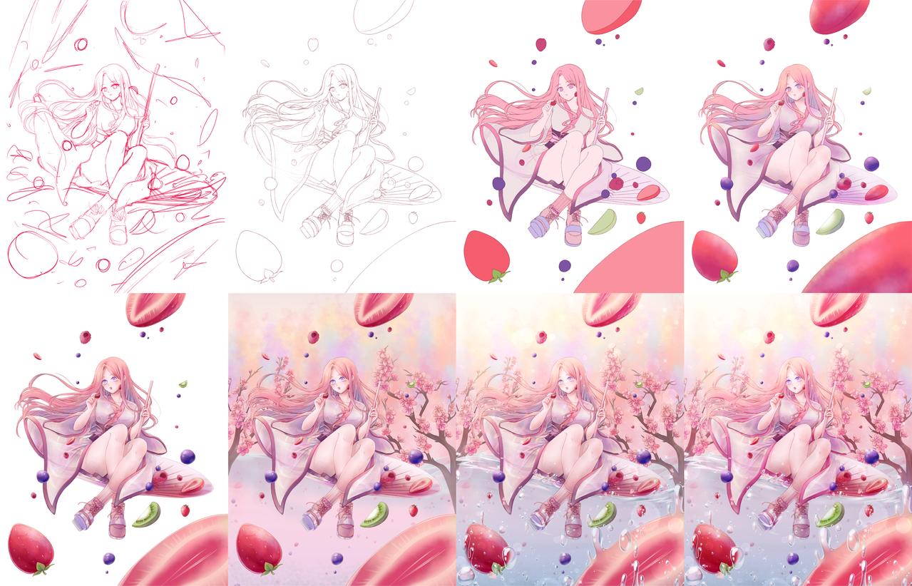 Nayu Illust of Apririnn (Onigiri) Post_Multiple_Images_Contest Berry pretty drawthisinyourstyle pinkhair