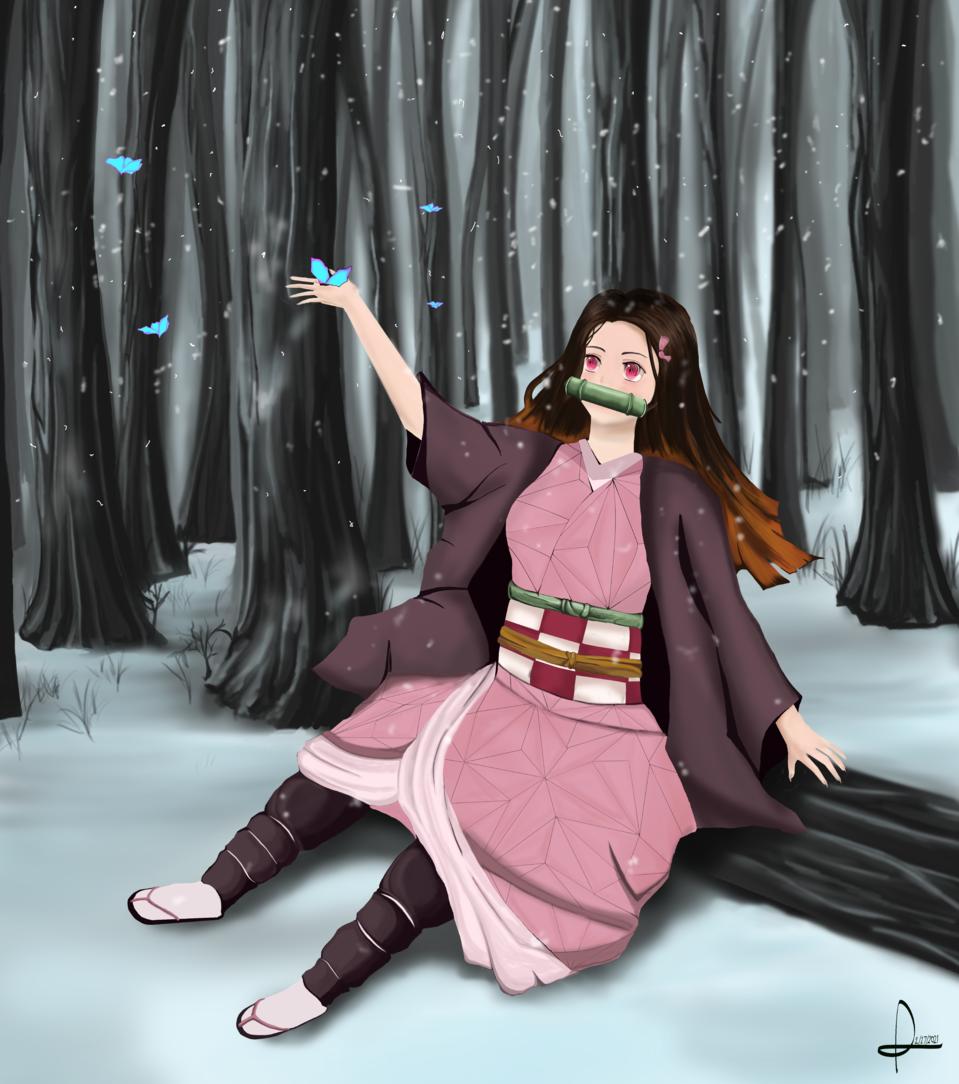 Kawaii Nezuko Creature Illust of Den-Art March2021_Creature snow girl KamadoNezuko contest kawaii KimetsunoYaiba
