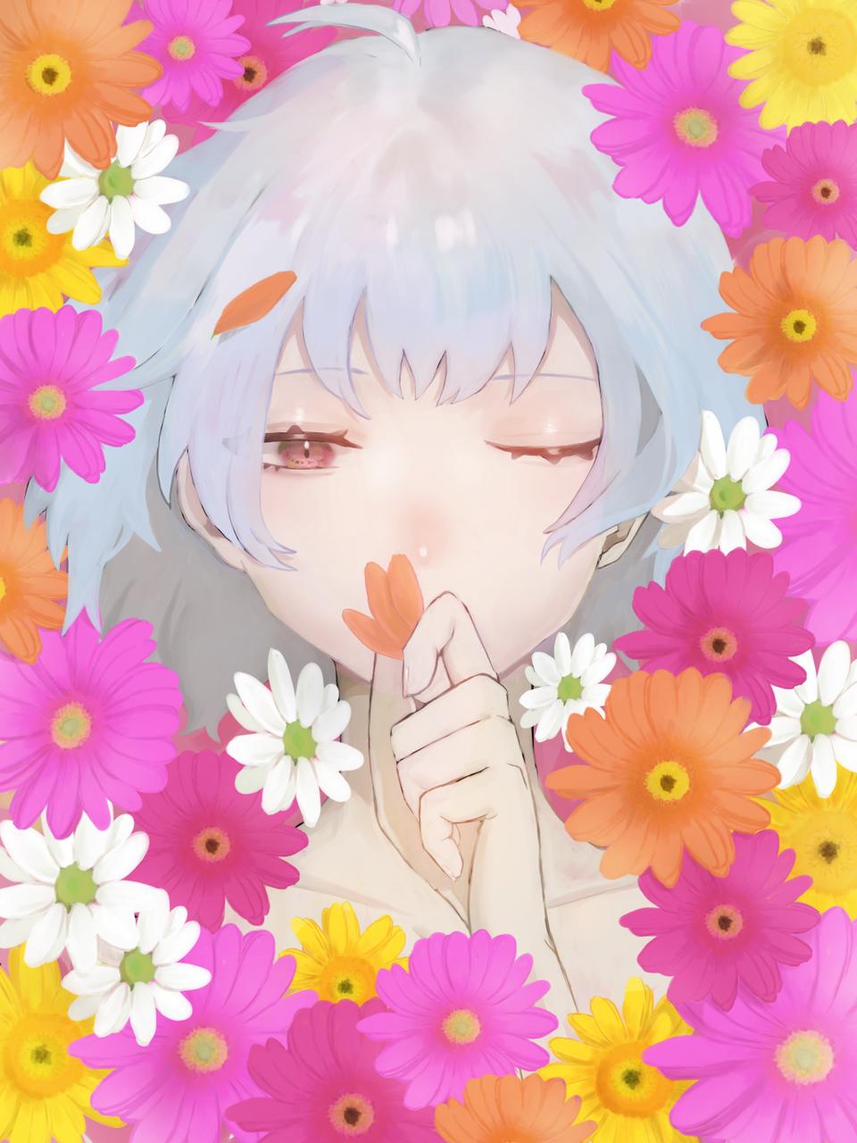 花煙 Illust of ごぱん April2021_Flower original girl impasto