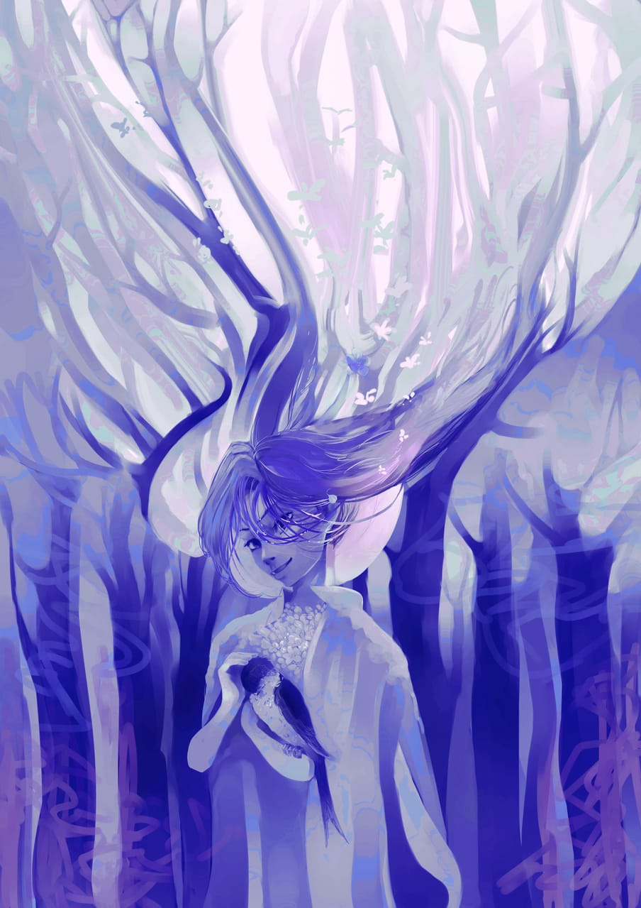 Spring dress in blue shades Illust of Lear May2021_Monochrome April2021_Flower art forest characterdesign character blue flower