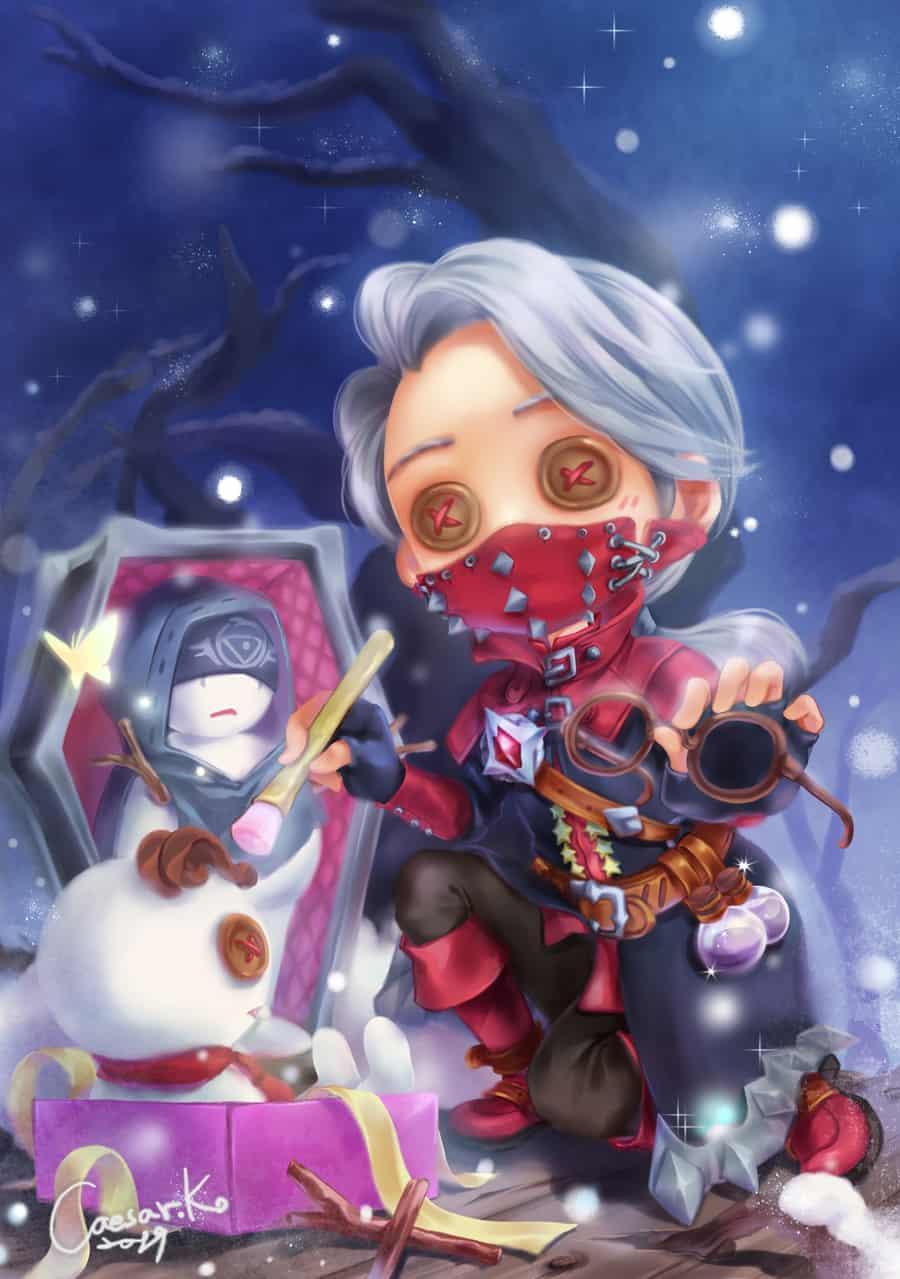 Christmas snowman Illust of Caesar snow illustration Identity V Christmas chibi IdentityV 銀髮 衍生作