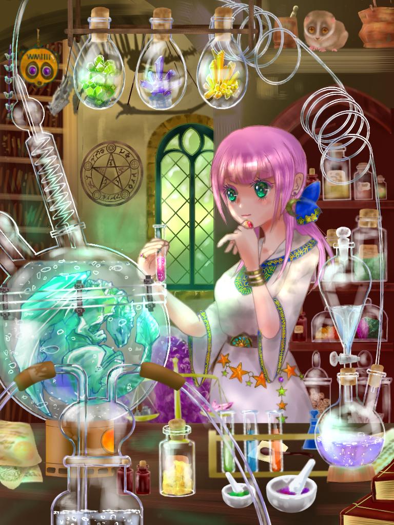 水晶竜の育て方 Illust of スローロリス1号 魔法使い girl フラスコ 実験室 竜 実験器具