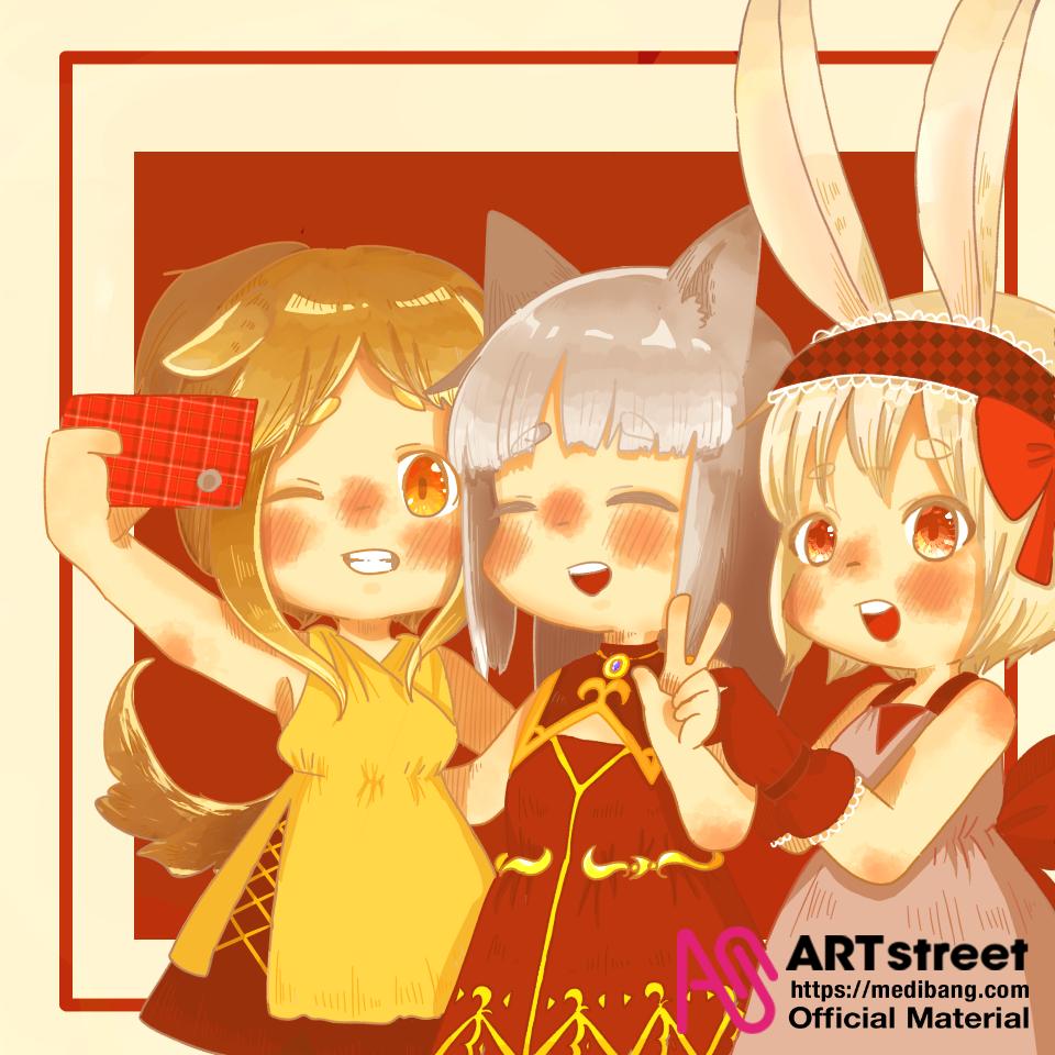 仲良し3匹 Illust of ちょぼろう tracedrawing3rd Trace&Draw【Official】 animal_ears girl うさ耳 oc ケモっ子