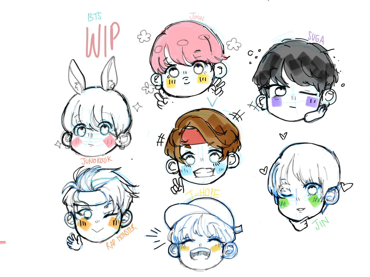 Bts Chibi Work In Progress Lcstmyway イラスト アート