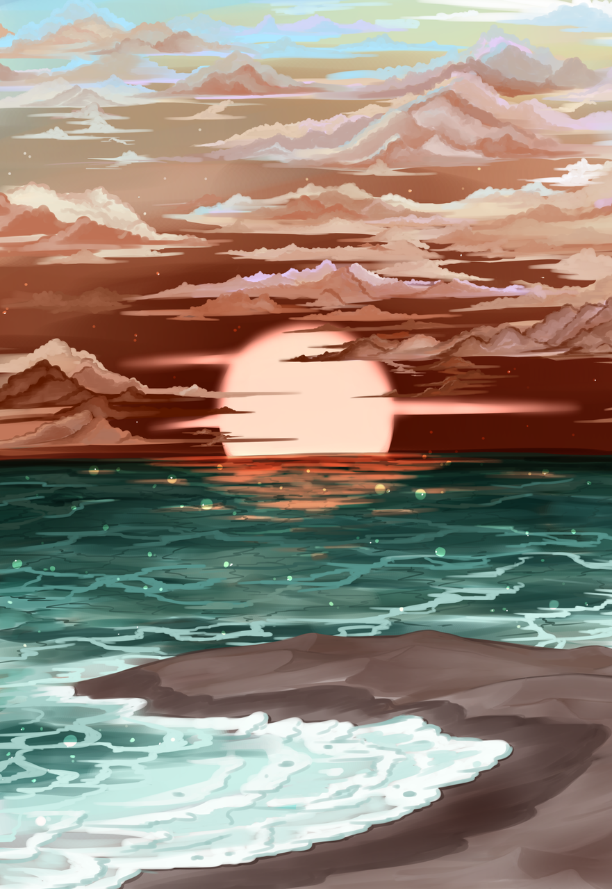 Tomorrow Illust of Sh_ed Original_Illustration_Contest original scenery sky sunset beautiful ocean art beach Artwork sea