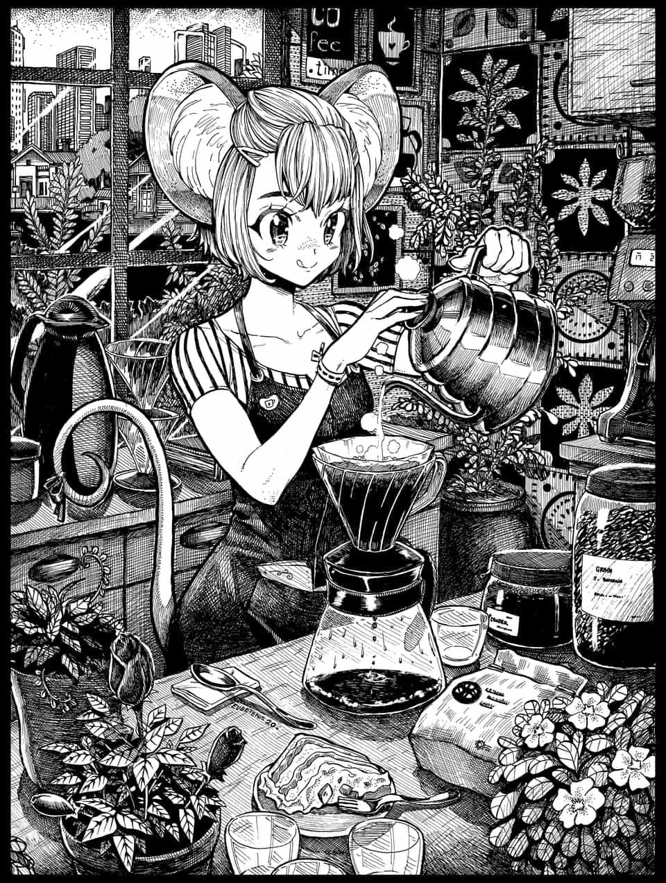 みんなのためのコーヒー Illust of EUDETENIS ARTstreet_Ranking May.2020Contest:Cheering Original_Illustration_Contest smile ねずみ コーヒー EUDETENIS