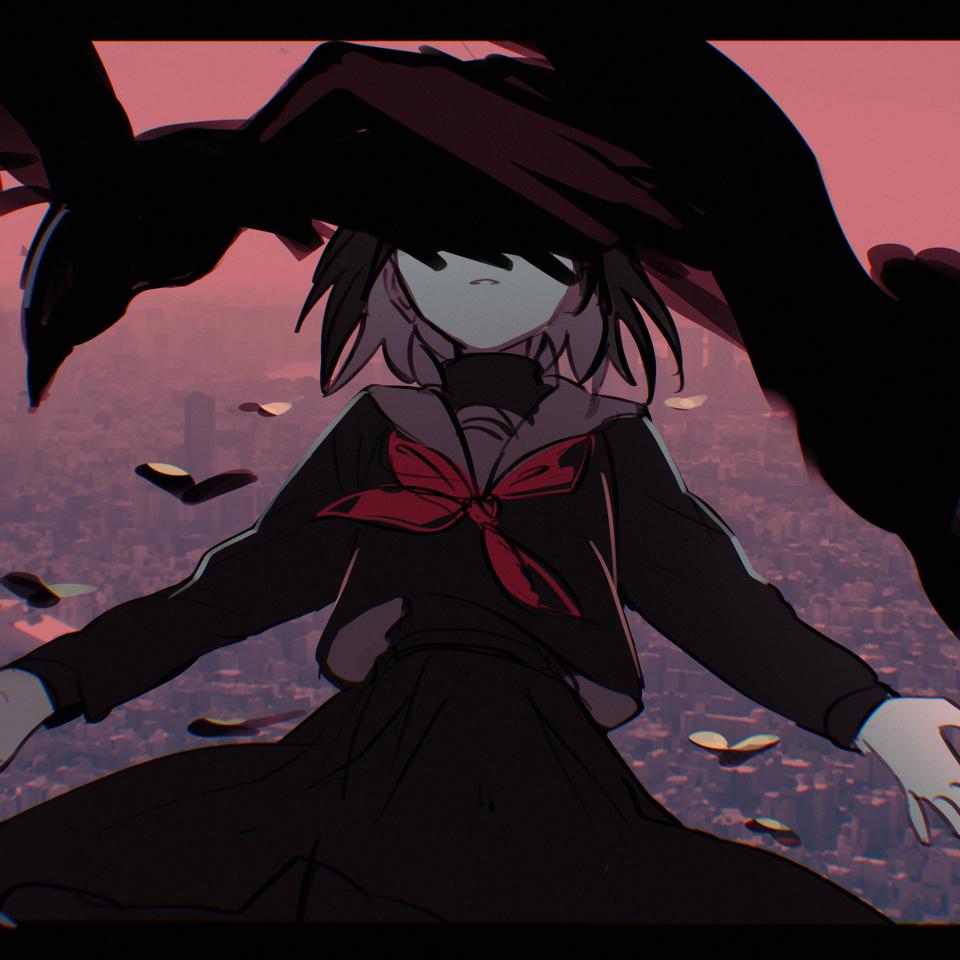 カラス Illust of 吉草 medibangpaint レッツワンドロ girl カラス birds sailor_uniform