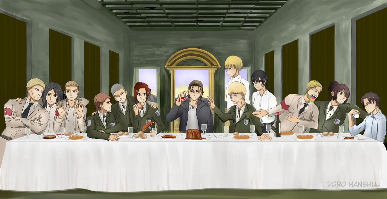 Attack on Titan: The Last Supper Illust of Doro Hanshuu MasterpieceFanart AttackonTitan anime ErenYeager ArminArlert digital The_Last_Supper cute SashaBlouse LeviAckerman MikasaAckerman