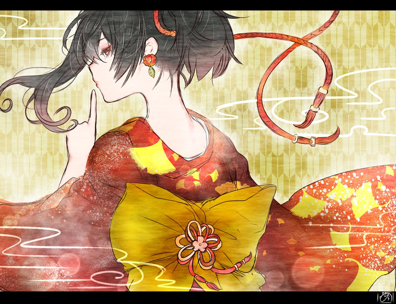 秘密 Illust of nora original kimono ponytail 黒髪 着物女子