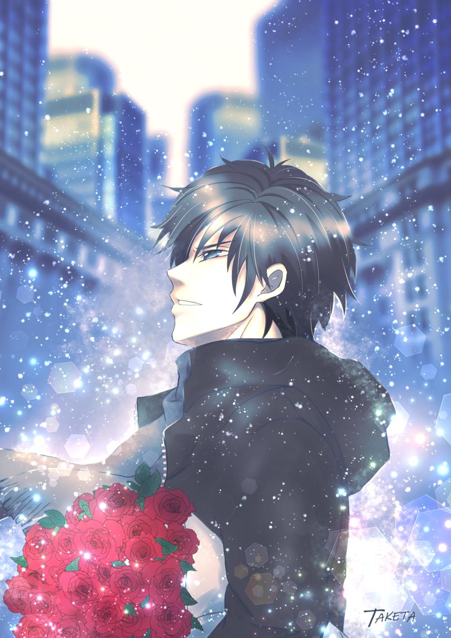 blue moment Illust of TAKETA April2021_Flower illustration 花束 創作男子 snow オリジナルキャラ ブルーモーメント 創作イラスト 幻想的