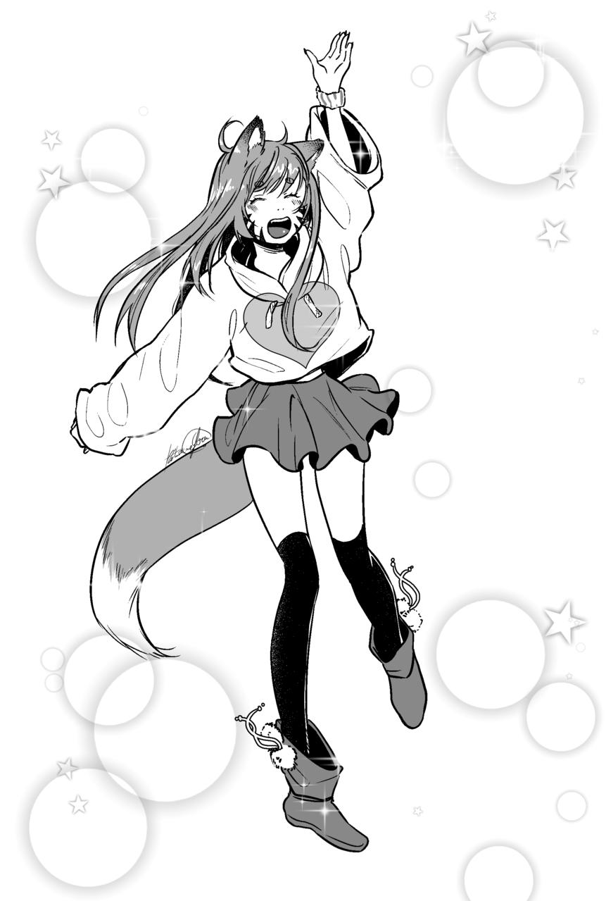 Khoro <3 Illust of Kitsune Yoru grey girl shoujom alien cat_ears ajokko kitsune