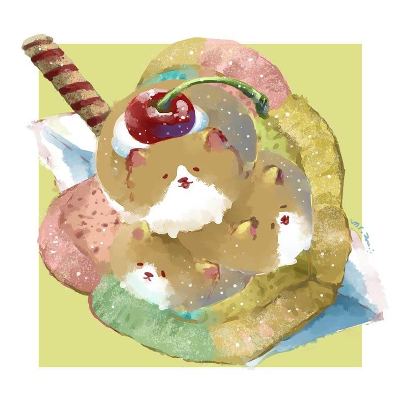 アイスクリームサンドイッチ Illust of Aries summer 柯基犬 dog puppydog corgi original ペット 食べ物絵 コーギー food