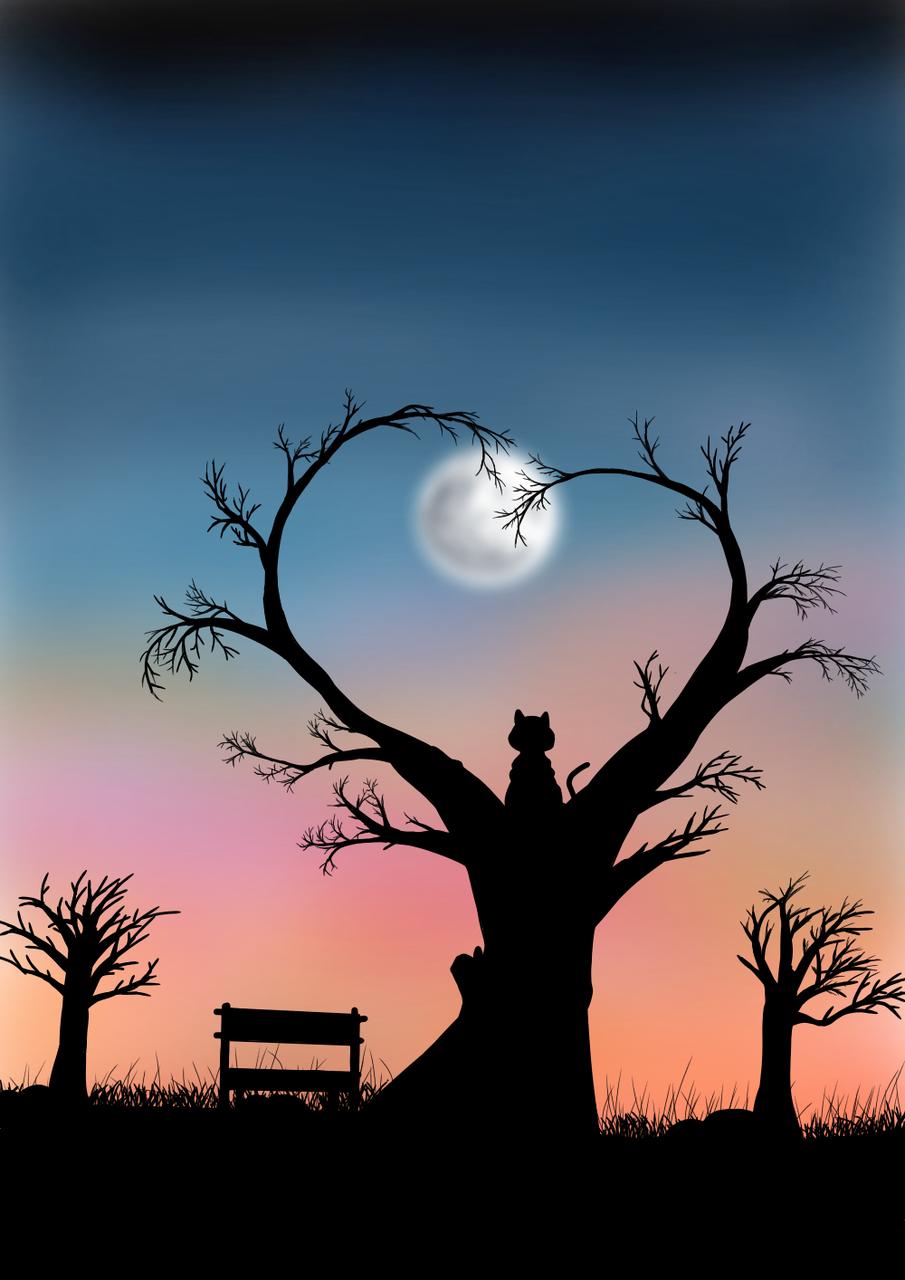 孤 Illust of TYAa April.2020Contest:Color medibangpaint cat Lonley Nightmare night moon Moonlight sad
