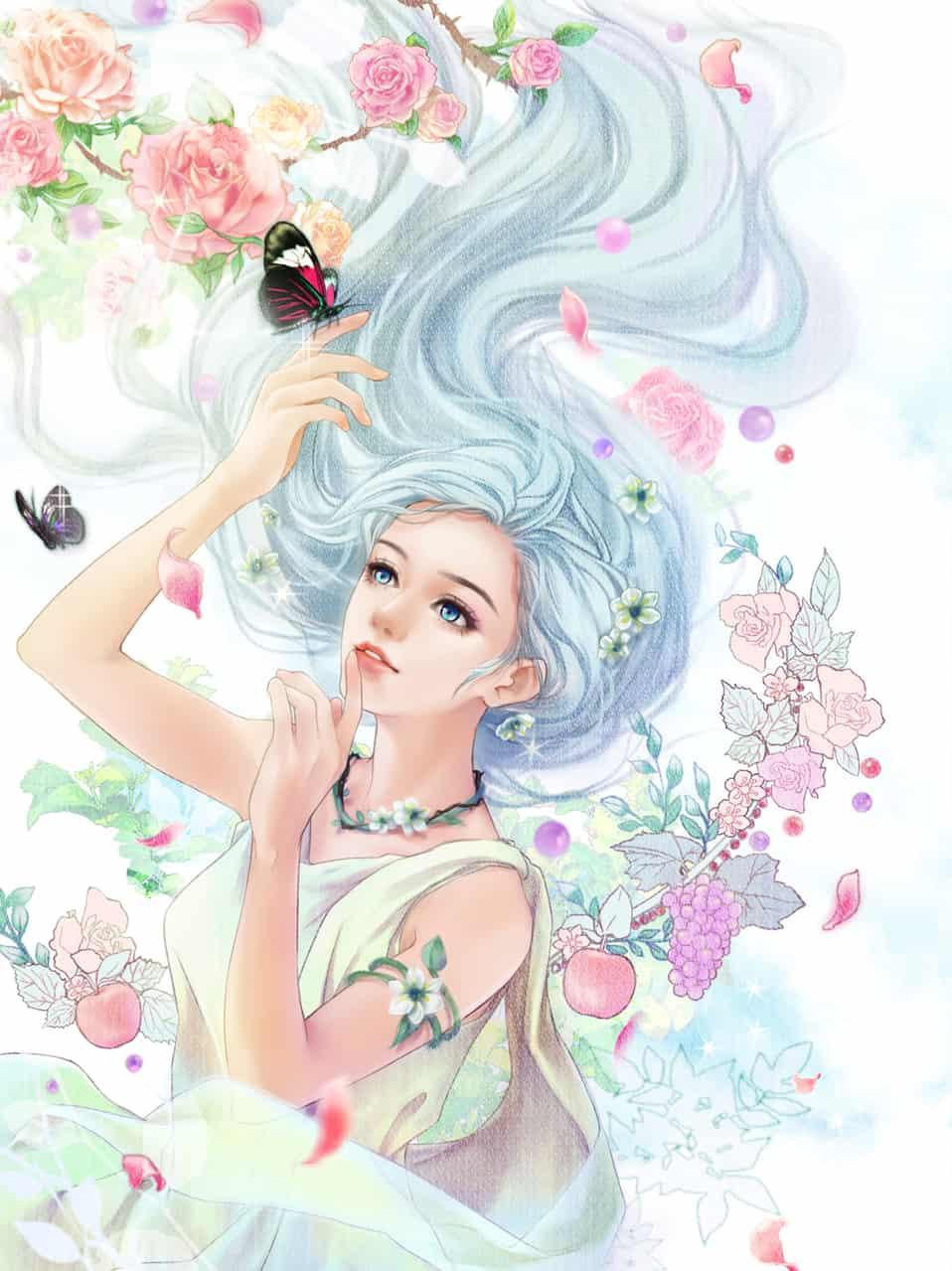 大地回春穀物之神 Illust of Caesar April.2020Contest:Color 好孩 rose girl 春天 flower original 蝴蝶 神