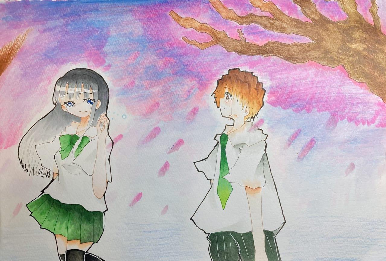 桜と別れ。 Illust of ラヴィ#アナログ同盟 April2021_Flower sakura アナログ 春 Copic flower