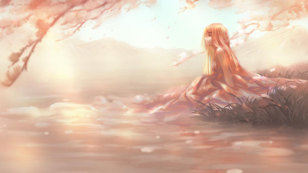 湖畔 Illust of 蒲千子夜 May2021_Monochrome flower woman 湖
