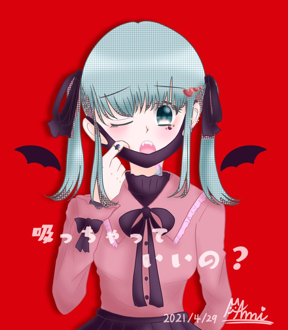 吸っちゃっていいの? Illust of 𝔸𝕞𝕚ฅ( ̳• ·̫ • ̳ฅ) hatsunemiku twin_ponytails vampire digital illustration girl kawaii メディバンペイント