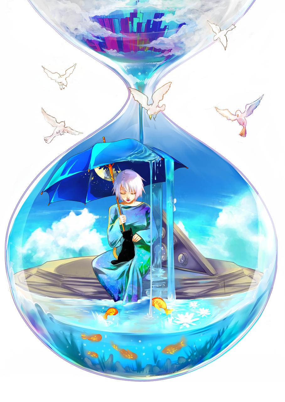Time for yourself... Illust of Lanamiyuki anime lanamiyuki cat hourglass DA fish girl feelgood time nature