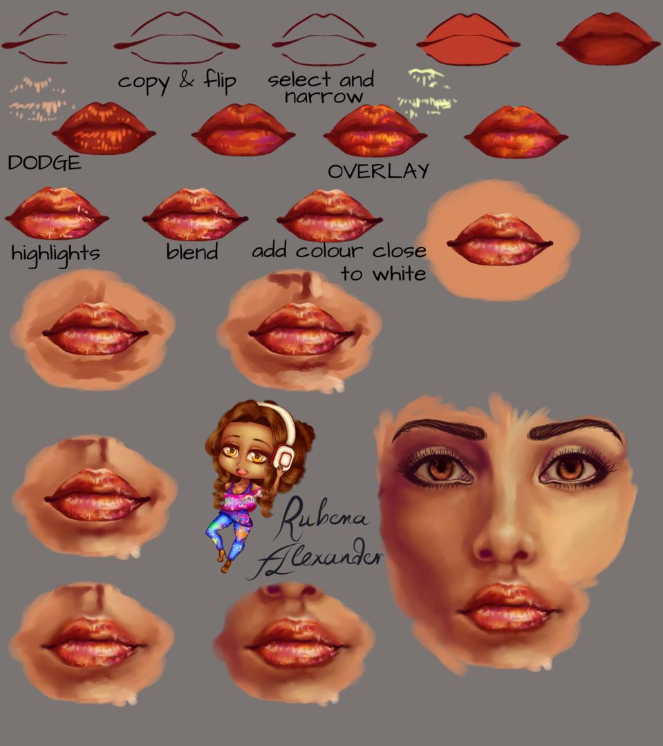 Lip Tutorial Illust of Crystal Blackstone semi-realism tutorial digital