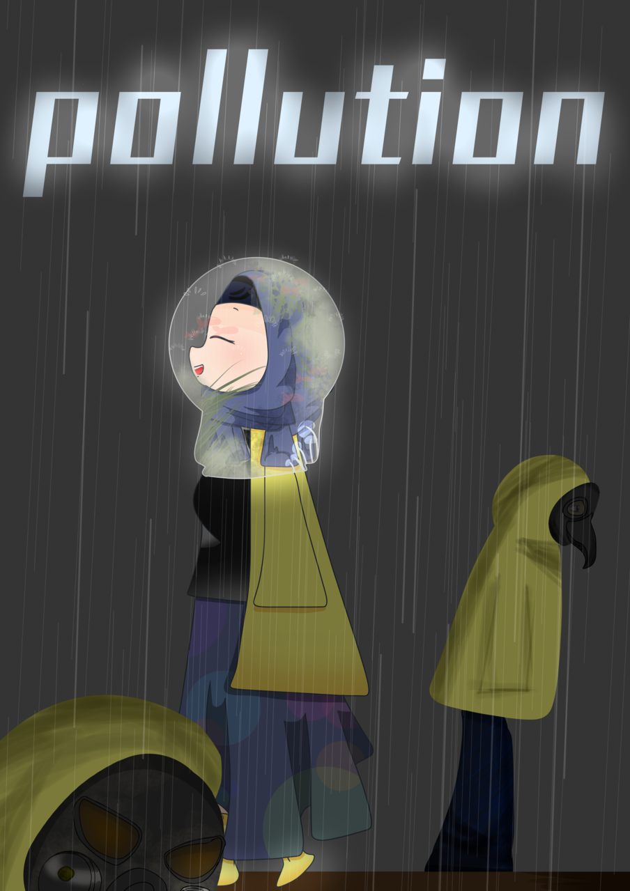 *POLLUTION* Illust of Qiya Art hijab the Coronavirus pollution oc Oxygen