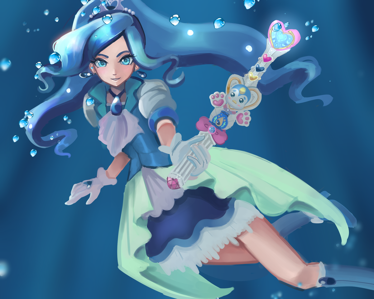 Cure Fontaine  Illust of gummyshark magicalgirl anime CureFontaine Precure underwater キュアフォンテーヌ